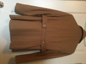 LADIES TAN WOOLBLEND COAT SIZE SMALL $30