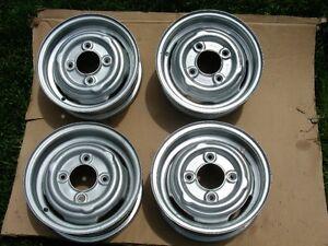 Austin Mini 10 inch steel Rims, Sandblasted and Painted.
