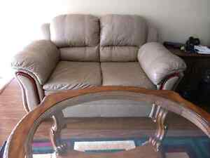 Brown leather couch set (2 seater + 1 seater)