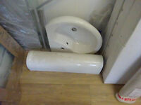 Corner pedestal sink with tap new unused
