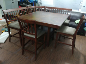Counter height table with 2 chairs 2 benches 1 corner piece