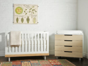 Oeuf crib (+toddler bed conversion kit), dresser, change table
