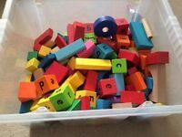 Big box of wooden bricks
