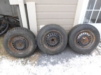 Snow tires (x3) with rims (bolt pattern 5x100)