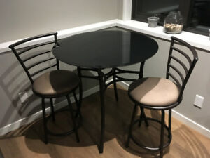 Black Tempered Glass Table and chairs (excellent condition)