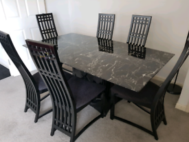 Black Marble Top Dinning Table + 6 Chairs