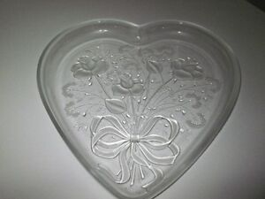Heart Shaped Etched Glass dish