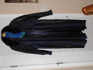 Genuine leather full-length women's coat