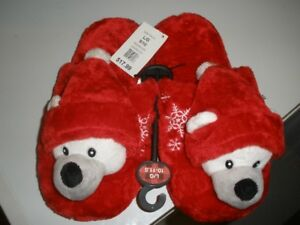LADIES CHRISTMAS BEAR SLIPPERS, SIZE LARGE