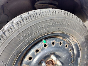 4 Winter tires on steel rims London Ontario image 2