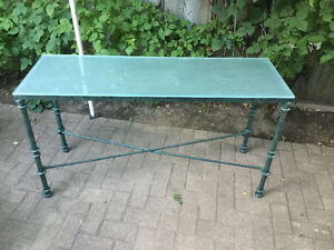 "Metal green lounge/sofa table with glass top 50"" x17 x 27.75high Oakville / Halton Region Toronto (GTA) image 1"