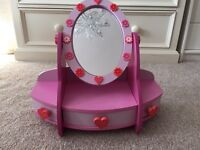 Girls wooden pink painted vanity mirror and drawer set