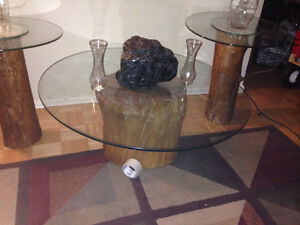 Maple log glass mable topped living /den coffee with end tables
