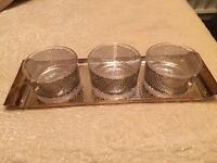 Egizia Silver plated tray and 3 glass serving