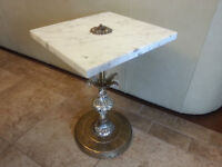 Beautiful ANTIQUE MARBLE and SOLID BRASS end Table with Hanging