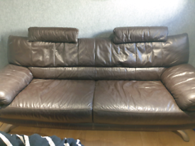 Large brown stylish leather sofa