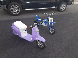 two electric kids razor scooters