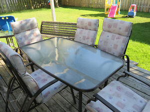 Beautiful Patio Set, 6 reclining chairs, metal wood bench