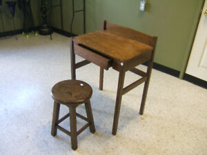 Solid Wood School Desk and Stool