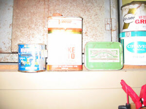 , Old Royalite, B/A Shell, Esso, Atlas tin  cans.