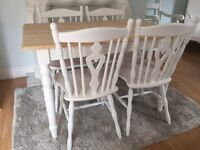Gorgeous 4ft Shabby Chic Oak Farmhouse Table and 4 Chairs