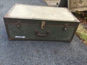 Antique Metal Military Trunk