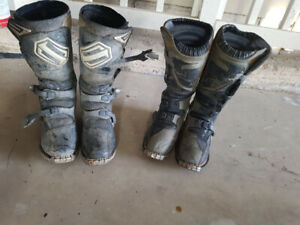 Motorcycle boots, gloves, chest protector,  jersey's, safety bag