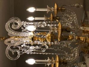 Vintage Bohemian Crystal Solid Brass Crystal Chandelier