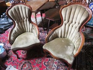 PAIR VICTORIAN WOOD CARVED CRUSHED VELVET PARLOR CHAIRS