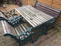 vintage heavy cast iron patio set / garden furniture table bench & chairs £100