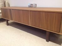 Stylish Design TV bench in walnut veneer. As new