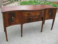 2 Gorgeous Antique Serpentine / Bow Front Mahogany Sideboards