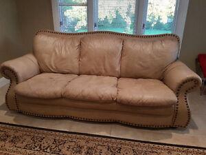 Genuine Leather Beige Sofa London Ontario image 1