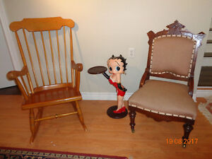 ANTIQUE  -- ROCKING CHAIR--  FERN TABLE