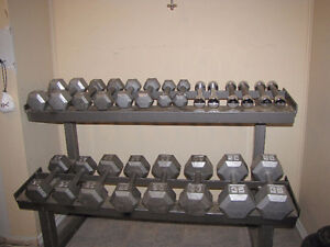 Cast Iron Dumbells and Steel Weight Rack