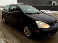 Black sporty 2002 Honda Civic SIR, 5spd, VTEC, Safetied