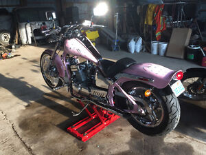Johnny Pag pink chopper with silver flames