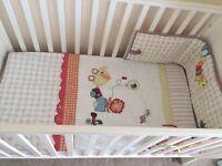Mamas & Papas white adjustable height cot with m&p matress and jamboree m&p cot bedding, bumper