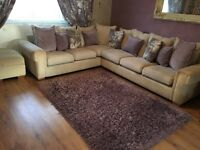 Large corner sofa, arm chair and pouffe