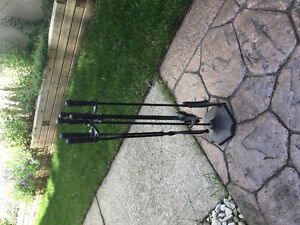 Black Iron Fireplace Tool Set with Stand
