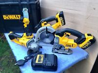 DeWalt 18v XR 4-Piece Tool Kit, 3 x 18v Batteries & Charger comes in Tough System Tool Box
