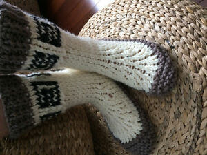 Hand knitted slipper boots