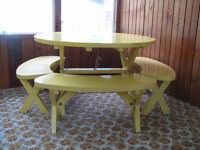 Deck/Sunroom Table & 4 bench set - Whitecourt