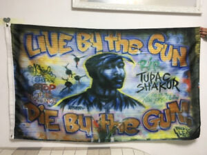 2pac tupac shakur live by the gun die by the gun flag 90x150cm