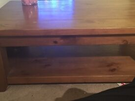 Table and 4 chairs and coffee table all solid wood