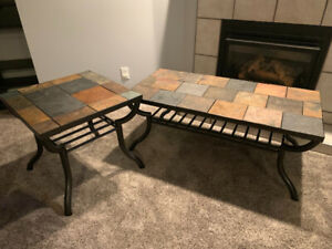 Slate coffee table with end table