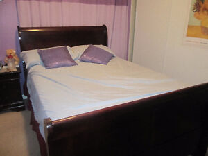 Ashley double bed with mattress box and side table