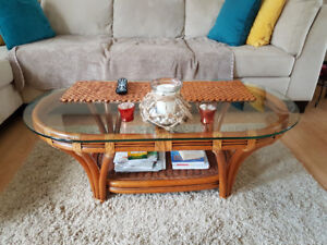 RATTAN coffee table for sale!