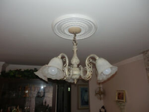 2 CHANDELIERS AND 2 NEW WALL LIGHTS