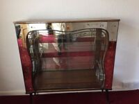 1960s Rivington Wood Glass Sliding Doors Display or Drinks Cabinet